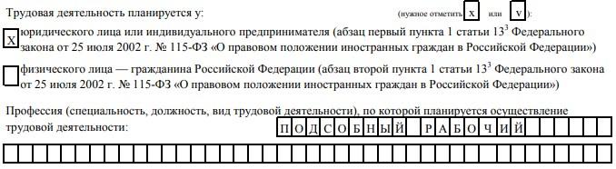 пример заполнения бланка заявления о выдаче патента иностранному гражданину